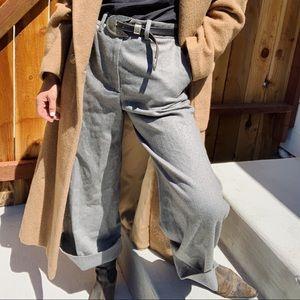 Rag & Bone Crane gray wool crop wide leg pants